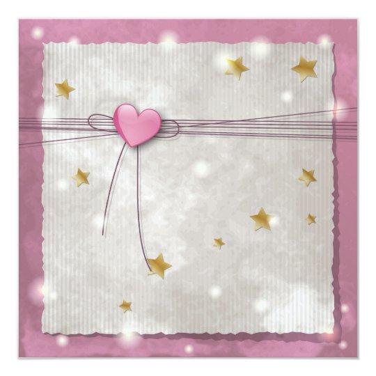 Pink heart Invitation