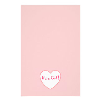Pink Heart It's a Girl Stationery