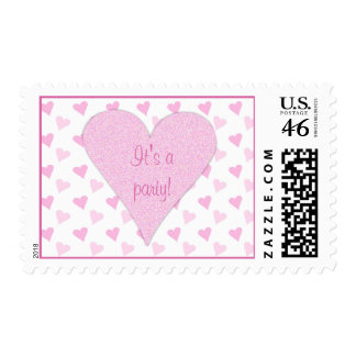 Pink Heart Its a Party Postage Stamps