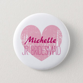 Pink heart junior bridesmaids buttons for girl