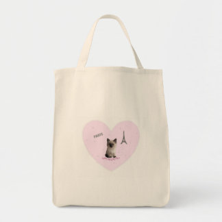 Pink Heart Kitten in Paris Natural Grocery Tote Canvas Bag