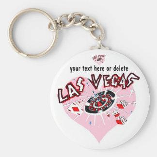 Pink Heart Las Vegas Keychain