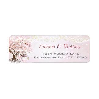 Pink Heart Leaf Tree Return Address Label