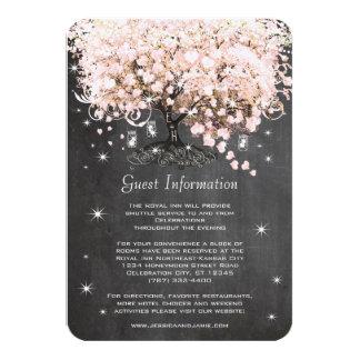 Pink Heart Leaf Tree Wedding Information Card