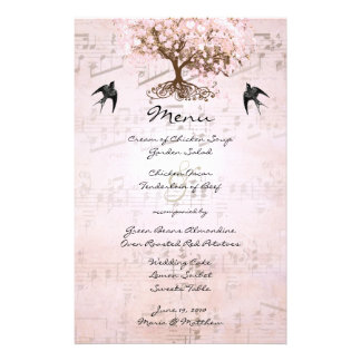 Pink Heart Leaf Tree Wedding Menu Custom Stationery