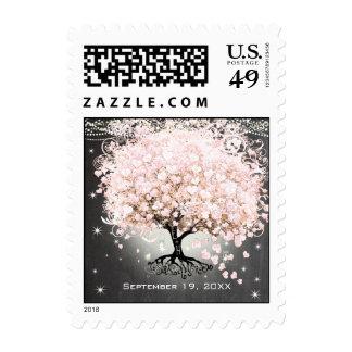 Pink Heart Leaf Tree Wedding Postage
