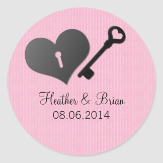 Pink Heart Lock and Key Wedding Stickers
