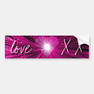 Pink Heart 'love and kisses' bumper sticker