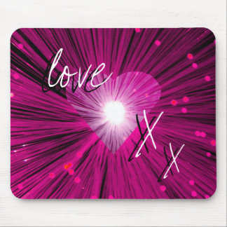 Pink Heart 'love and kisses' mousepad