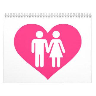 Pink heart love couple calendar