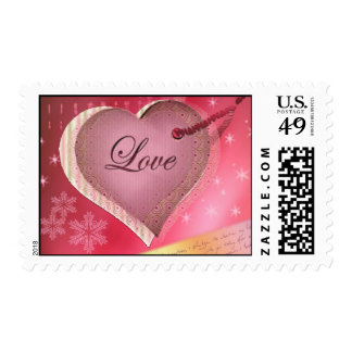 Pink heart love letter postage stamps