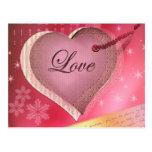 Pink heart love letter postcard