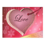 Pink heart love letter postcards