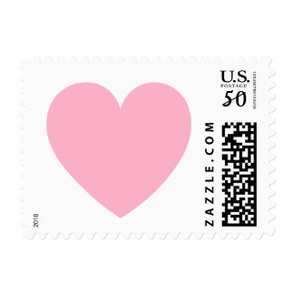 Pink heart love or Valentines day postage stamp