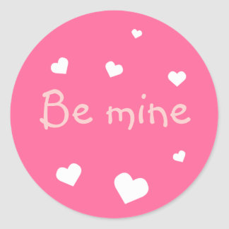 Pink heart love Valentine's day custom party favor Classic Round Sticker
