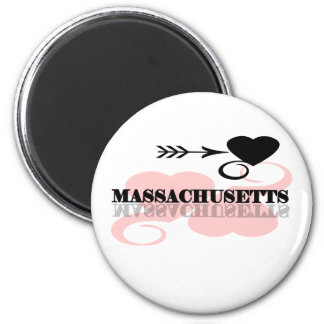 Pink Heart Massachusetts 2 Inch Round Magnet