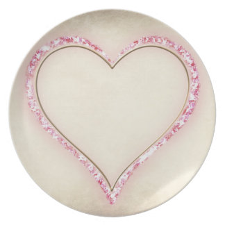 Pink heart melamine plate