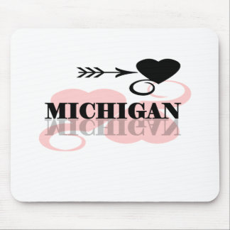 Pink Heart Michigan Mouse Pad