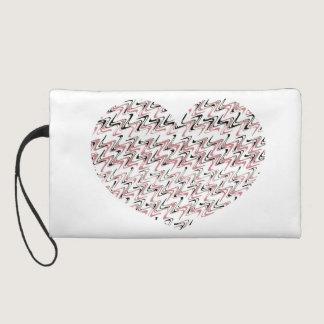 Pink Heart Modern Zig zag Lines Zigzag Pattern Wristlet Purse