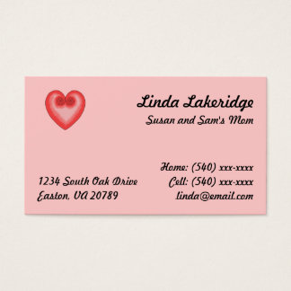 Pink Heart Mommy Contact  Info Card