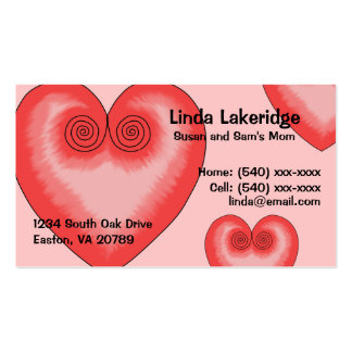 Pink Heart Mommy Contact  Info Card Double-Sided Standard Business Cards (Pack Of 100)