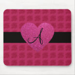 Pink heart monogram roses mouse pads