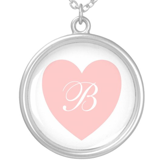 Pink Heart Monogrammed Necklace