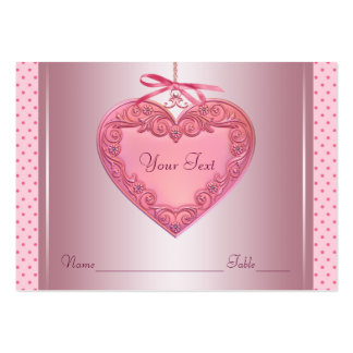 Pink Heart Name Seating Table Cards Large Business Card