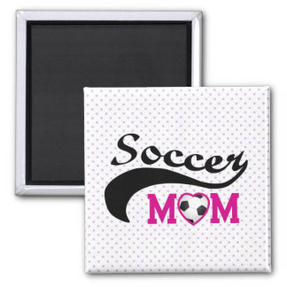 Pink Heart O Soccer Mom 2 Inch Square Magnet
