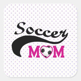Pink Heart O Soccer Mom Square Sticker