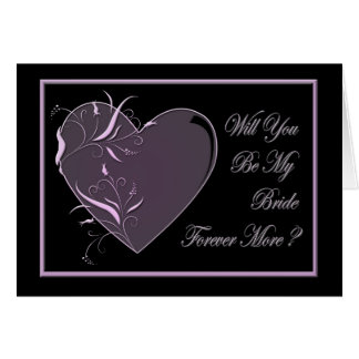 Pink heart on black be my bride greeting card