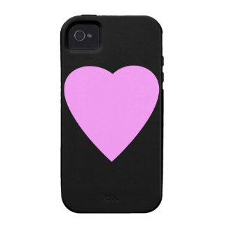 Pink Heart on Black iPhone 4/4S Cases