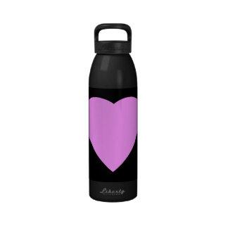 Pink Heart on Black. Reusable Water Bottles
