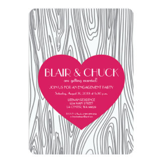 Pink Heart on Faux Wood Tree Engagement Invite