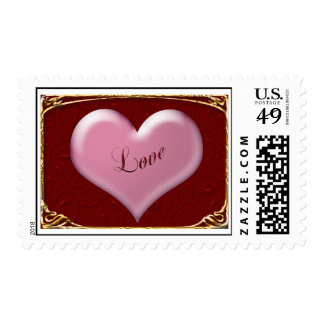 Pink Heart on Red Valentine Postage