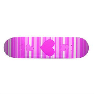 Pink Heart on Stripes Skateboard