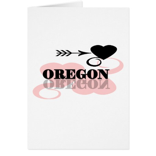 Pink Heart Oregon Greeting Cards