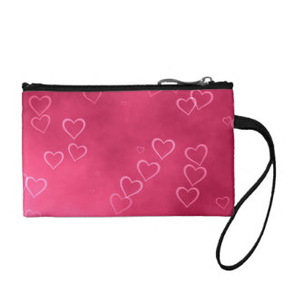 Pink heart outlines coin wallet