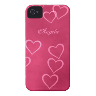Pink heart outlines iPhone 4 Case-Mate case