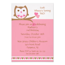 Pink Heart Owl Kids Birthday Invitation