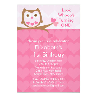 Pink Heart Owl Kids Birthday Invitation