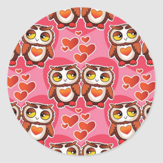 Pink Heart Owl Stickers