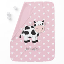 Pink Heart Pattern Cow Baby Blankets