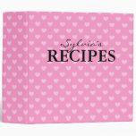 Pink heart pattern design recipe binder book