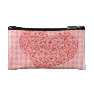 Pink heart pattern on houndstooth cosmetic bag