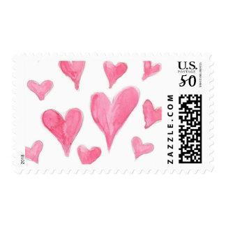 Pink Heart Pattern Postage