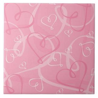 Pink heart pattern tile
