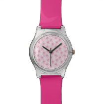 Pink Heart Pattern Wrist Watch