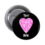 Pink Heart. Patterned Heart Design. Buttons