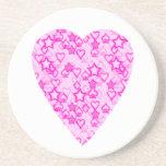 Pink Heart. Patterned Heart Design. Beverage Coaster